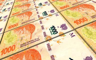 Argentina pesos bills stacks background. 3D illustration