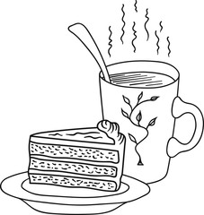 Hand Drawn Doodle Sketch Line Art Vector Illustration of Layered Carrot Cake with Cream Cheese Frosting on Plate Mug of Hot Piping Coffee Tea. Food Poster Banner Template.