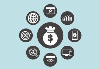 9 Circular Finance and Tech Icons
