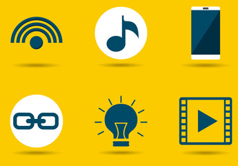 9 Yellow and Gray Web and Mobile Icons
