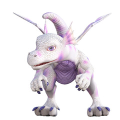 White baby dragon with purple spots isolated on white. 3d render.