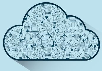 Hand-Drawn Social Media Icon Cloud Illustration