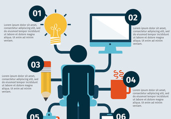 Productivity Infographic with Pictorial Person Icon Element