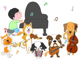 犬のコンサート。犬が歌ったり、楽器を演奏したりしている。