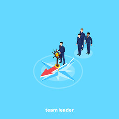 a man in a business suit stands on a compass with a steering wheel in his hand leading a team, an isometric image