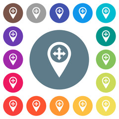 Move GPS map location flat white icons on round color backgrounds