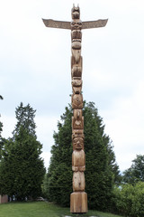 totem pole ancient wooden indian