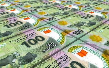 Mauritanian ouguiya bills stacks background. 3D illustration.