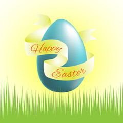 Easter - color picture with blue egg and gold ribbon