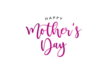 Happy Mother's Day Holiday Pink Glitter Calligraphy Text Greeting