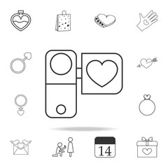 video camera with heart icon. Set of Love element icons. Premium quality graphic design. Signs, outline symbols collection icon for websites, web design, mobile app