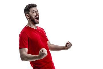 Athlete / fan on red uniform celebrating on white background