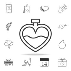 perfume in the form of heart icon. Set of Love element icons. Premium quality graphic design. Signs, outline symbols collection icon for websites, web design, mobile app