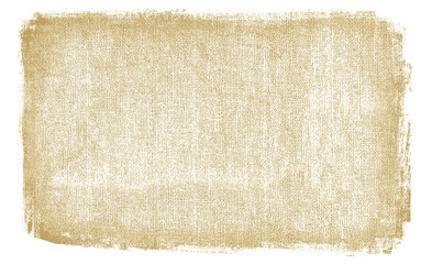 Burlap rough fabric background with dirty brown texture. Blank space with white frame rough textured edges. Wall mural