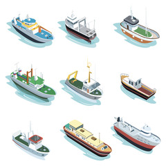 Commercial sea ships isometric elements. Container ship, fishing trawler, barge boat, port towboat, lng tanker, tugboat, crane vessel vector illustration. Worldwide commercial marine transportation.
