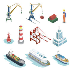 Sea shipping logistics isometric 3D elements. Commercial world marine delivery, freight transportation. Container ship, lighthouse, cargo crane, port, warehouse, navigational buoy vector illustration.