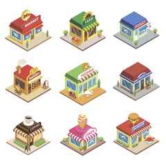 Fast food restaurant and shop buildings isometric set. Pizzeria, 24h market, pharmacy, farm store, coffee cafe, burger, bakery, books, and candy shops. Commercial city architecture vector illustration
