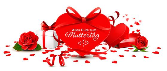 Grußkarte Muttertag - Herz Karte mit roter Schleife, Geschenkbox und Rosen