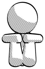 Halftone Design Mascot Woman Sitting with Head Down Facing Forward
