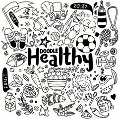 Healthy lifestyle concept,Hand drawn vector illustration set of