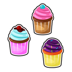 Delicious cupcakes and vector set isolated