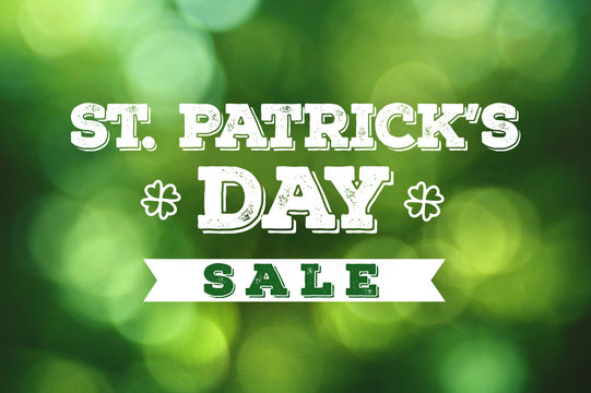 St. Patrick's Day Sale Grunge Text Over Spring Green Bokeh Lights Texture Background
