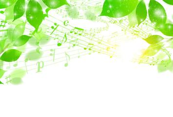 新緑 葉 音符 背景