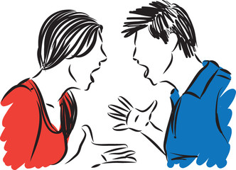 couple man and woman fighting concept vector illustration