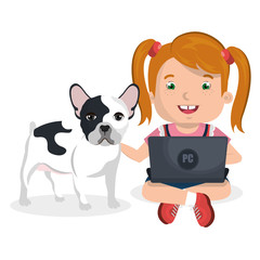 girl with dog and laptop computer character