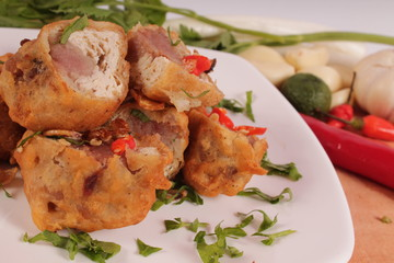 Indonesian traditional food : stuffed soybean cake