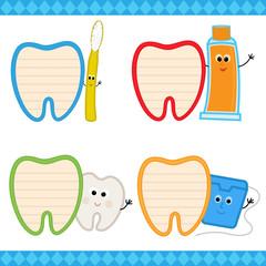 Dental Notes - Set of four cartoon dental signs. Eps10