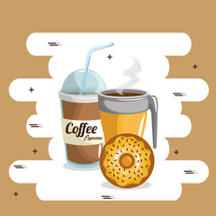 delicious coffee plastic pot and donut