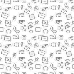 Seamless sosial life icons pattern on white background