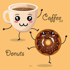 delicious coffee cup and donuts kawaii character