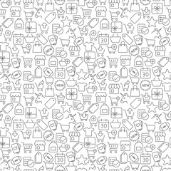 Seamless shopping icons pattern on white background