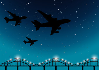 Background scene with airplanes flying at night