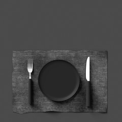 Fork with knife and plate gray color