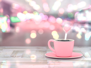 Coffee pink cup on wooden table