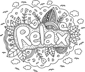 Coloring Page For Adults With Mandala And Relax Word Doodle Lettering Ink Outline Artwork