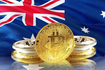 Bitcoin coins on Australia's Flag, Cryptocurrency concept photo