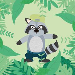 Cool raccoon cartoon