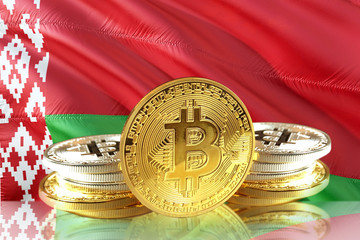 Bitcoin coins on Belarus's Flag, Cryptocurrency concept photo