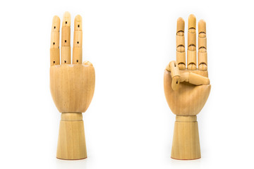 Wood carving hand Placed on a white background
