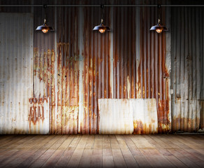 Empty room - Old rusty zinc wall with Lamp lighting and wooden floor, Ideal for product display