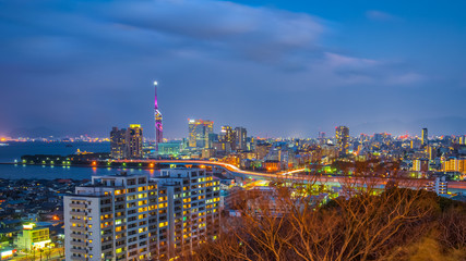 Fukuoka city skyline at night in Hakata, Fukuoka, Japan