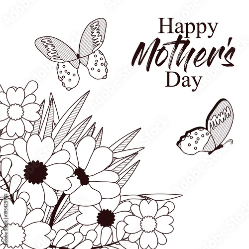 Happy Mothers Day Card With Butterflies And Flowers
