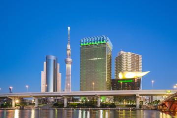 Tokyo city skyline at night near Asakusa area in Tokyo, Japan