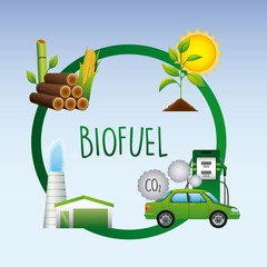 biofuel life cycle car biomass ethanol factory plant sugarcane sun emission co2 diagram vector illustration