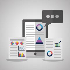 mobile web app business statistics data vector illustration