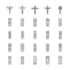 Totem icons set , outline style